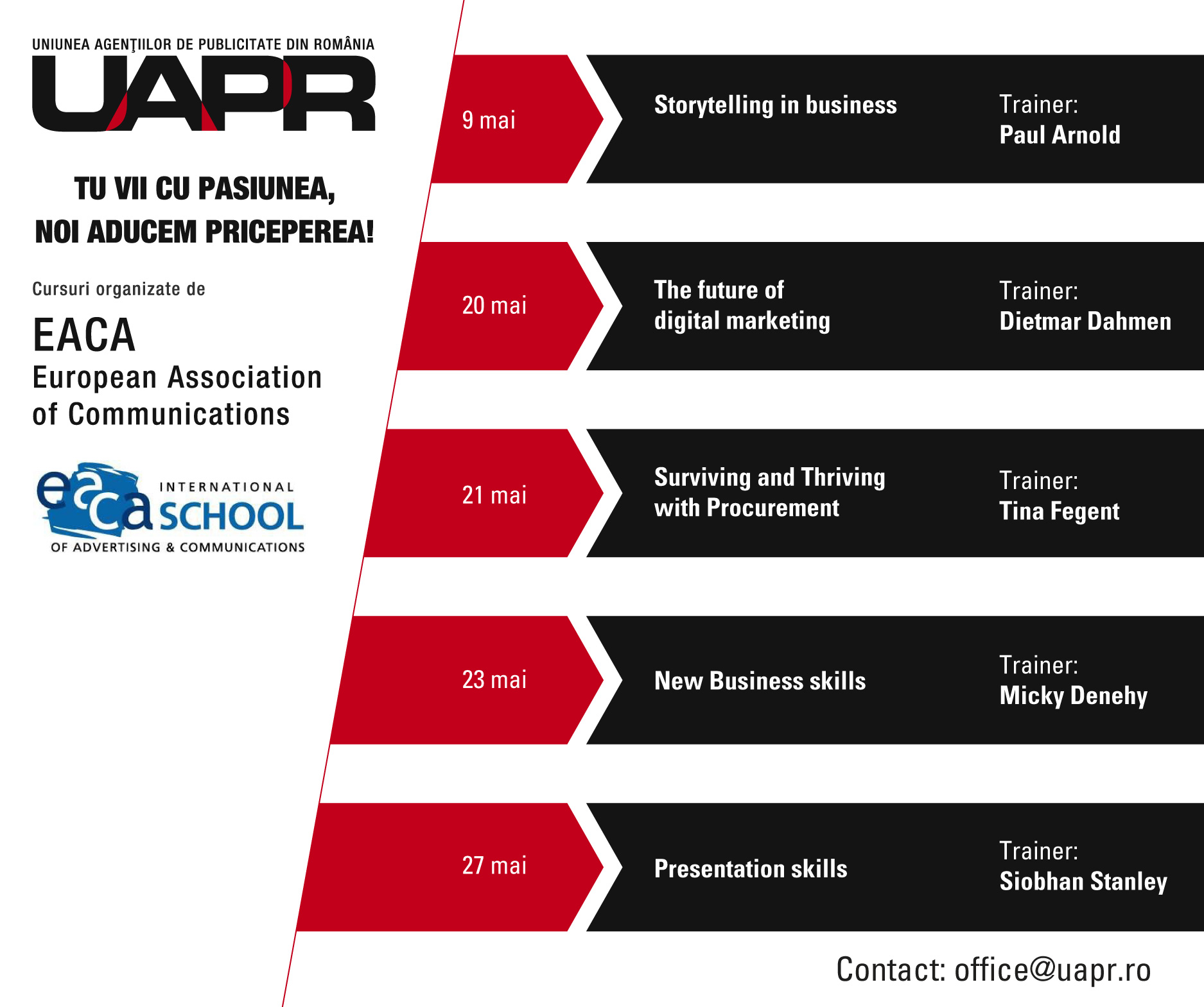 UAPR şi EACA organizează cursuri pentru cei care lucrează sau vor să lucreze în publicitate