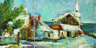 """""""Balcicul sub zăpadă"""": Tablou din două fragmente tăiate, scos la licitație"""