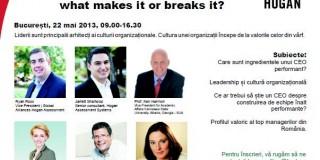 Cultura unei organizatii incepe si se dezvolta pornind de la liderul aflat în varf
