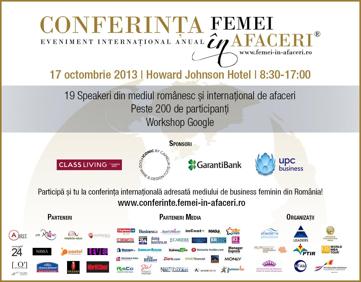 Conferința Internațională FEMEI în AFACERI –  35% dintre IMM-uri au în conducere femei