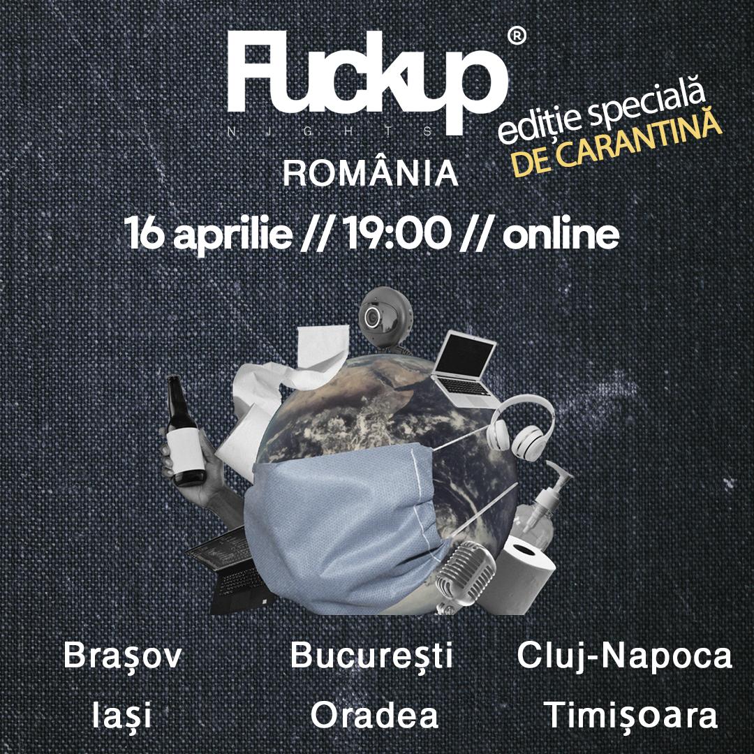 Organizatorii Fuckup Nights din 6 orase din Romania se unesc virtual si organizeaza o editie speciala