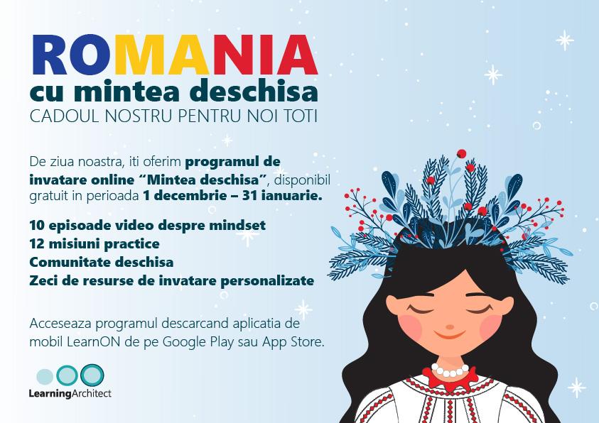 """Learning Architect ofera tuturor romanilor, gratuit, programul online de antrenare a mindsetului """"Romania cu mintea deschisa"""""""
